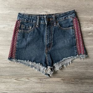 URBAN OUTFITTERS BDG HIGH RISE CHEEKY AZTEC SHORTS